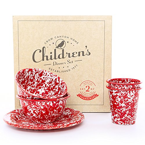 - Enamelware Children's Dinnerware Set, 6 piece, Red/White Splatter