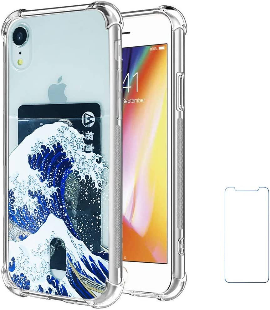 """Oddss Case Compatible for iPhone XR with Card Holder Slot Blue Japanese Wave Ultra-Slim Thin Soft TPU Clear Cover Compatible for iPhone XR (6.1"""") with Screen Protector"""