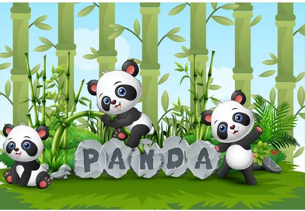 OFILA Polyester Fabric Panda Backdrop 7x5ft Green Bamboo Panda Photography Background Panda Theme Baby Shower Party Background Panda Birthday Photo Shoot Children Room Decor Backdrop Props