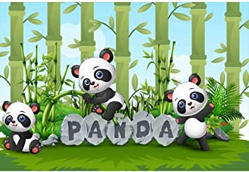 Amazon Com Ofila Kids Panda Backdrop 6x4ft Polyester Fabric Cartoon Panda Photos Background Bamboo Kids Birthday Photo Booth Baby Shower Shoots Children Room Wallpaper School Events Decor Props Camera Photo