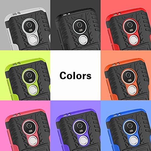 OFU®Para MOTO E5 Smartphone, Híbrido caja de la armadura para el teléfono MOTO E5 resistente a prueba de golpes contra la lucha de viaje accesorios esenciales del teléfono,Para MOTO E5 negro Rose Red