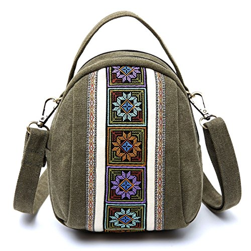 (Goodhan Embroidery Canvas Crossbody Bag Cell phone Pouch Coin Purse for Women Girls,Army Green)
