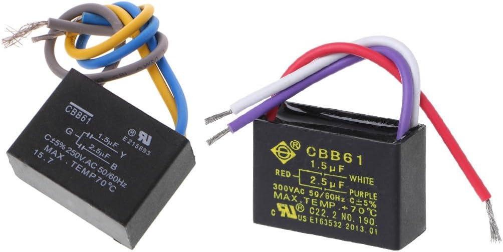 FXCO CBB61 - Condensador para Ventilador de Techo (CBB61, 1,5 uF + 2,5 uF 3, 250 V CA, 50/60 Hz), Color Negro