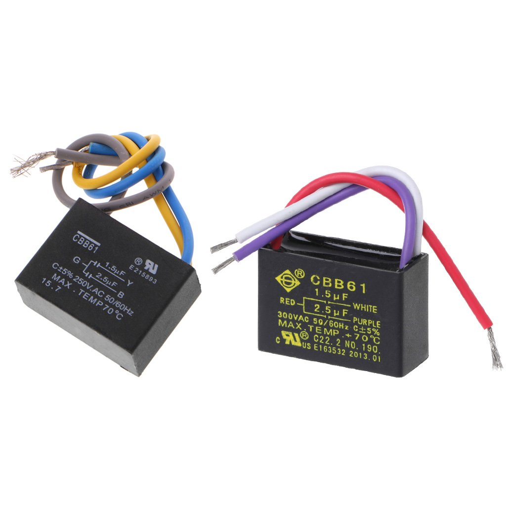 JENOR CBB61 - Condensador para ventilador de techo, color negro (1,5 uF + 2,5 uF, 3 cables, 250 V CA, 50/60 Hz)
