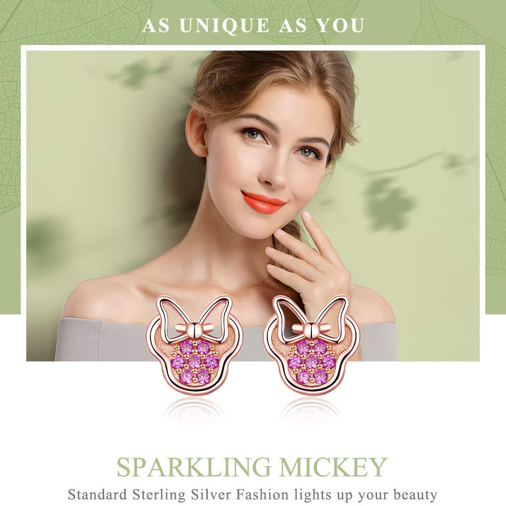 BAMOER 925 Sterling Silver Sparkling Mouse Earring Studs with Pink Cubic Zirconia Perfect Thanksgiving Christmas Day Gifts for Women Teen Girls Jewelry