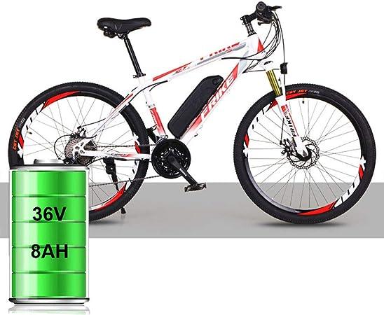 YBCN Una Versión Mejorada De Una Bicicleta De Montaña Eléctrica con Un Sistema De Cambio 21/27 Batería De Litio De 36V 8AH / 10AH 26 Pulgadas,Blanc Rouge,21speed Luxury: Amazon.es: Hogar