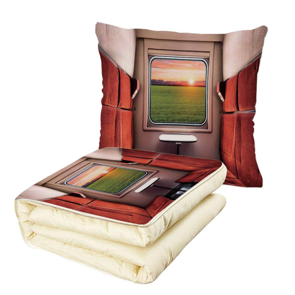 iPrint Quilt Dual-Use Pillow House Decor Fresh Nature Setting from Train Compartment Window Railroad Destination Travel Image Multifunctional Air-Conditioning Quilt Red Green Cream