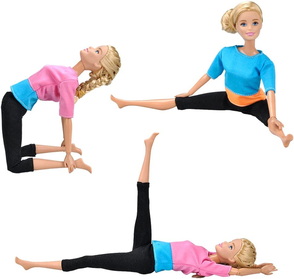 2 Sets Combo E-TING Handmade Yoga Clothes Gym Running Sportswear fit for girl Doll doll not include