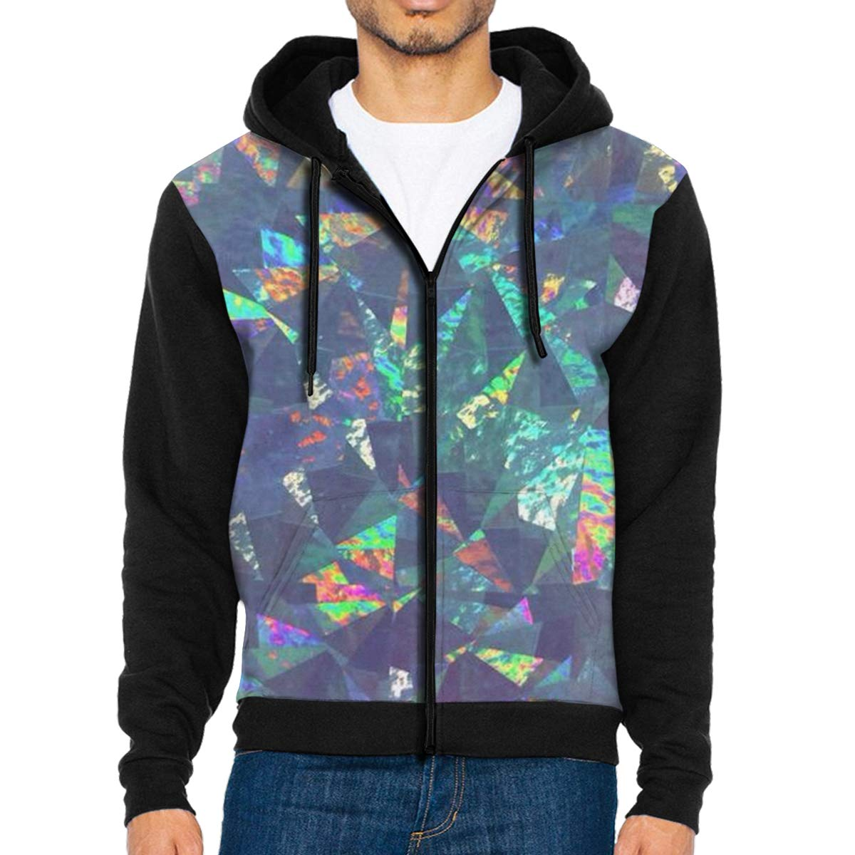 MHBGMYES Colorful Paper Lightweight Mans Jacket with Hood Long Sleeved Zippered Outwear