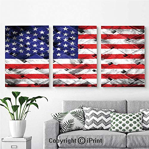 (Canvas Prints Modern Art Framed Wall Mural Fourth of July Independence Day Thatch Rattan Rippled Weave Bamboo Art Decorative for Home Decor 3 Panels,Wall Decorations for Living Room Bedroom Dining R)