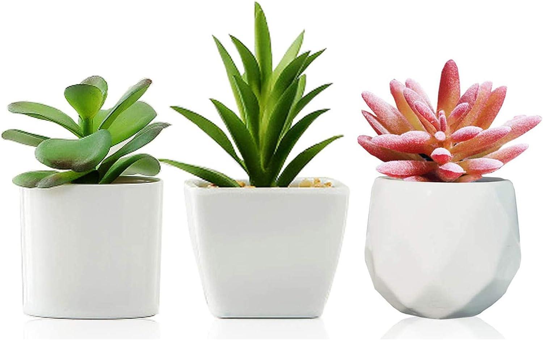 Fake Plants Set of 3,succulents Plants Artificial, Mini Assorted Decorative Faux Succulent Potted Fake Cactus Cacti Plants with White Pots