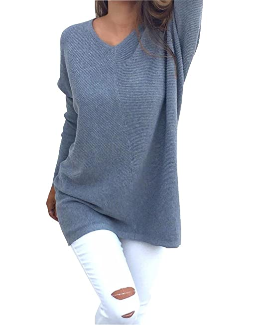 best website 8ed49 135e0 Damen Lange Ärmel Unterhemd Stretch Sweater Pullover Strick Langshirt Bluse  Top Casual