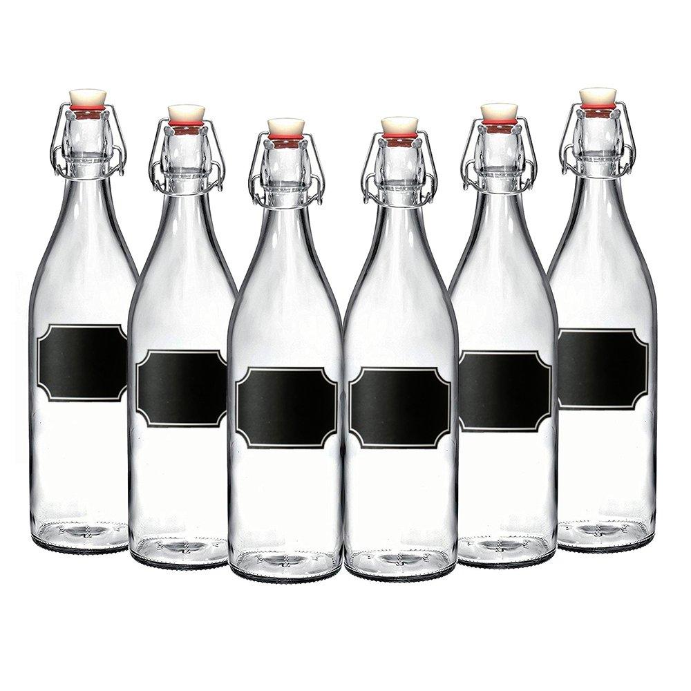 6-Pack Giara Bottles, Giara Glass Bottles w/Chalkboard Labels, 33.75 oz. Glass Bottles for Beverages, Oils & More, Elegant Swing Top Reusable Glass Water Bottles w/Topper