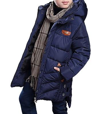 MILEEO Jungen Mantel Jacket Parka Kinder Jungen Mantel Winter Baumwolle Kindermantel Langarm Outwear Wintermantel mit Kapuze Winterjacke Steppjcake