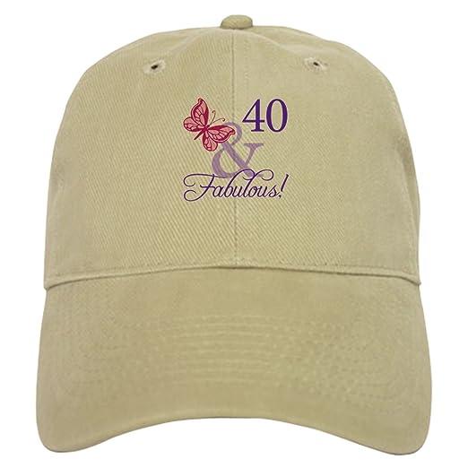 ba2d7de22 CafePress 40 and Fabulous Baseball Cap with Adjustable Closure, Unique  Printed Baseball Hat Khaki