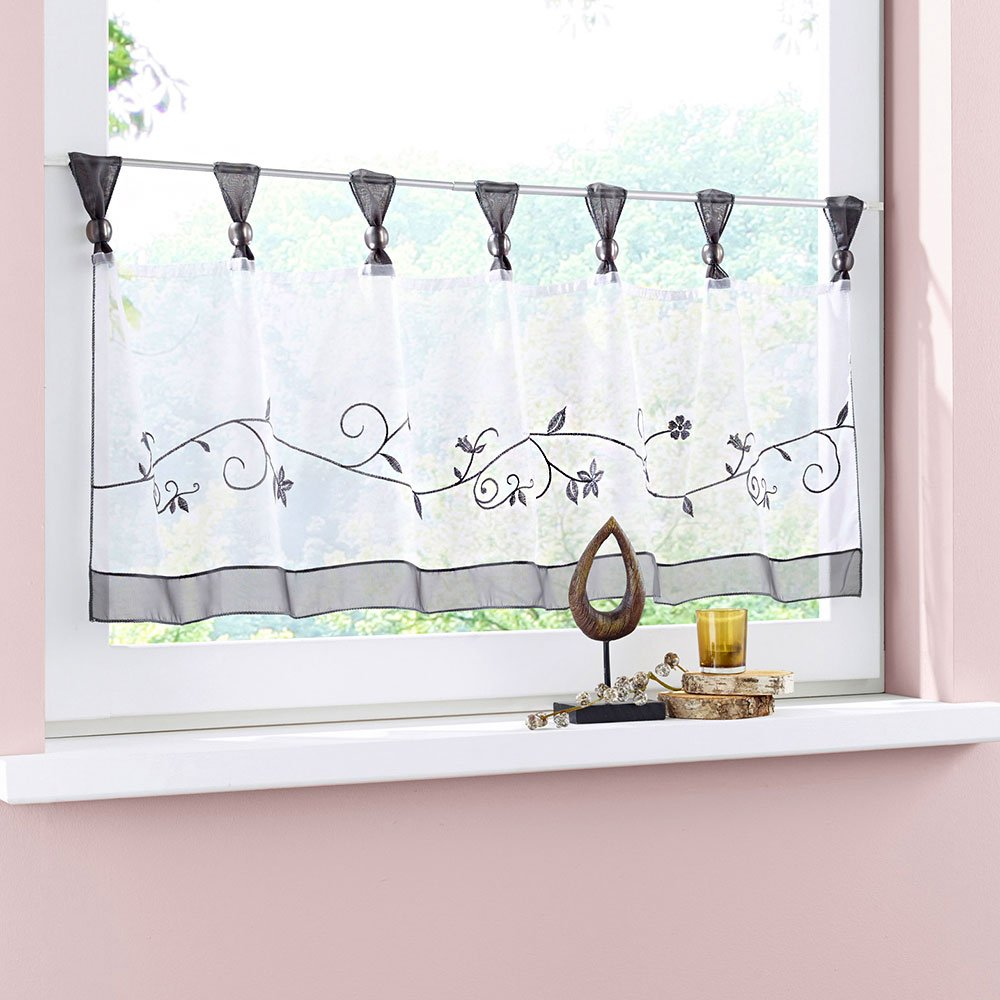 Uphome 1pcs Cute Embroidered Floral Window Tier Curtain - Kitchen Tab Top Semi Sheer Curtain Grey