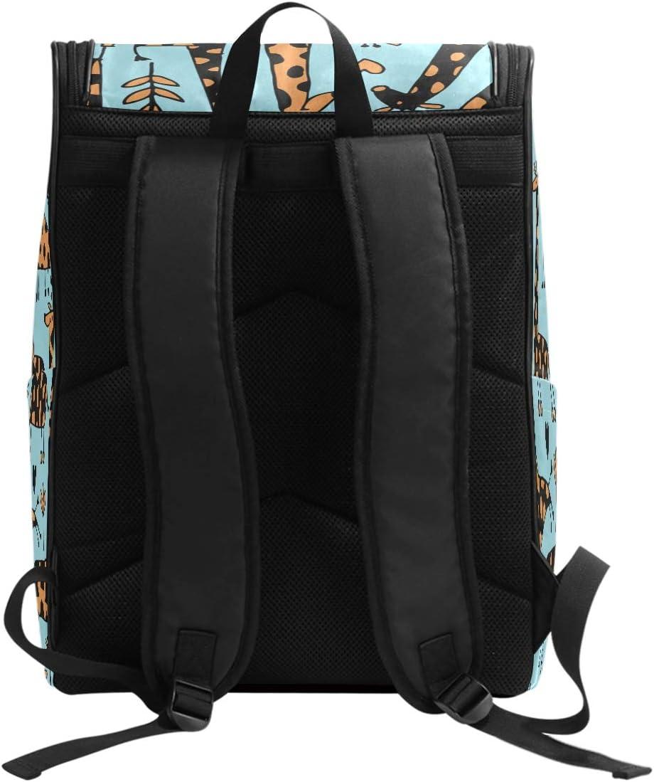 Laptop Backpack Cartoon Giraffes Pattern Blue Background Large Capacity Bag Travel Daypack