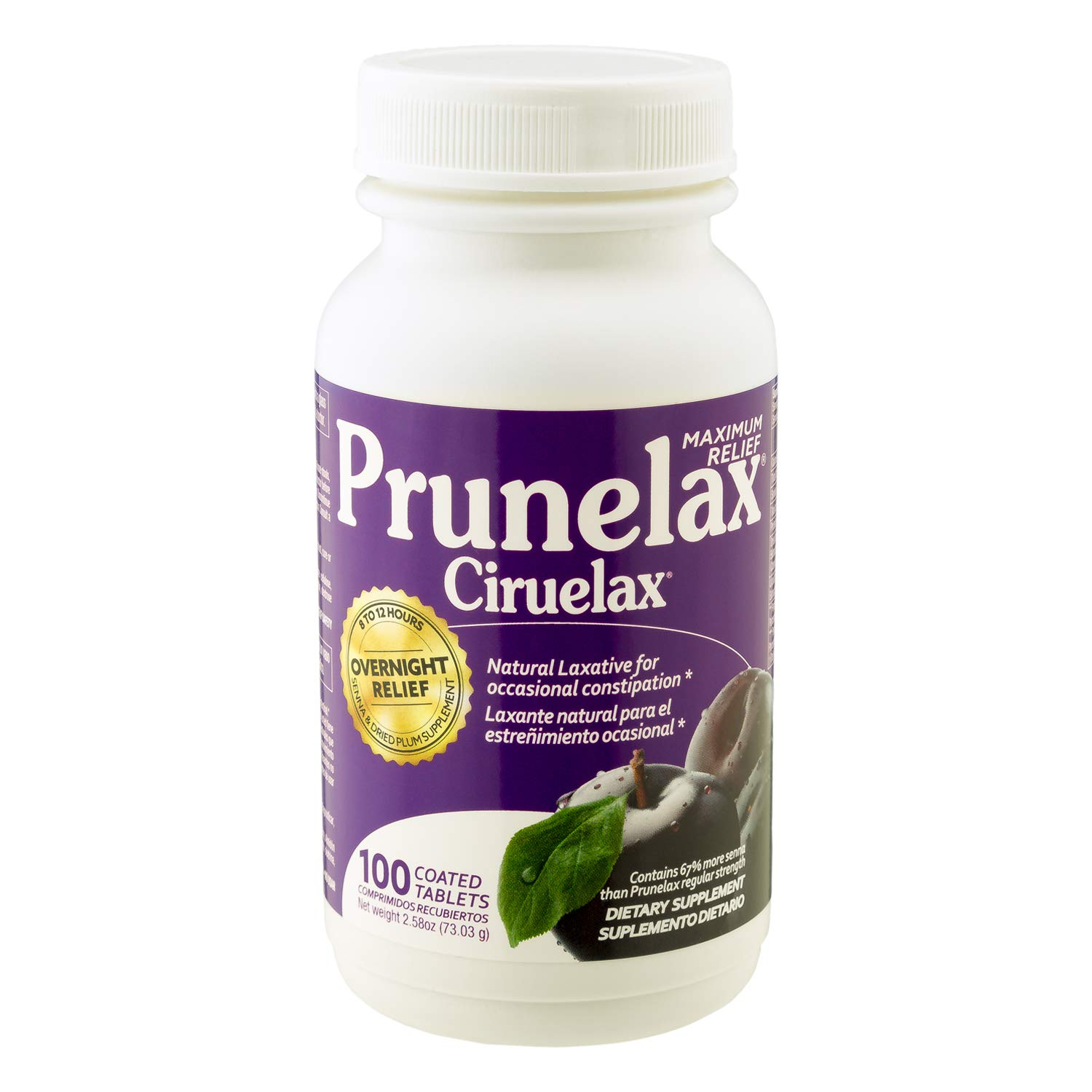 Prunelax Ciruelax Natural Laxative Maximum Relief Tablets, 100Count by Prunelax
