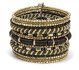 SPUNKYsoul New! Boho Metal Black and Gold Cuff Bangle Bracelets for Women l Collection (Gold & Black)