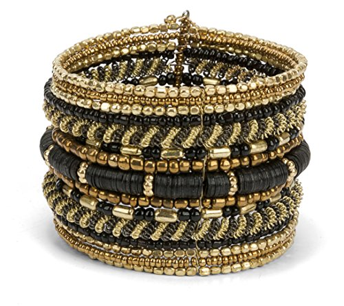 SPUNKYsoul New! Boho Metal Black and Gold Cuff Bangle Bracelets for Women l Collection (Gold & Black)