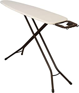 "Household Essentials Steel Top Long Ironing Board with Iron Rest | Natural Cover and Bronze Finish | 14"" x 54"" Iron Surface"
