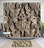 Amavam Bathroom 2-Piece Suit Islamic Symbols Calligraphy And Sacred Geometry Adorns The Walls And Ceilings Of The Ben Youssef Shower Curtains And Bath Mats Set, 71'' Wx71 H & 31'' Wx20 H