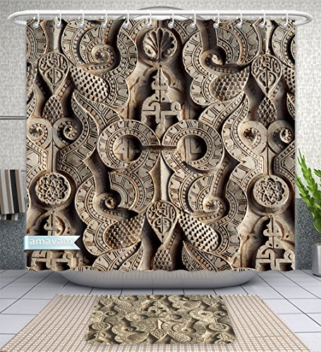 Amavam Bathroom 2-Piece Suit Islamic Symbols Calligraphy And Sacred Geometry Adorns The Walls And Ceilings Of The Ben Youssef Shower Curtains And Bath Mats Set, 71'' Wx71 H & 31'' Wx20 H by Amavam