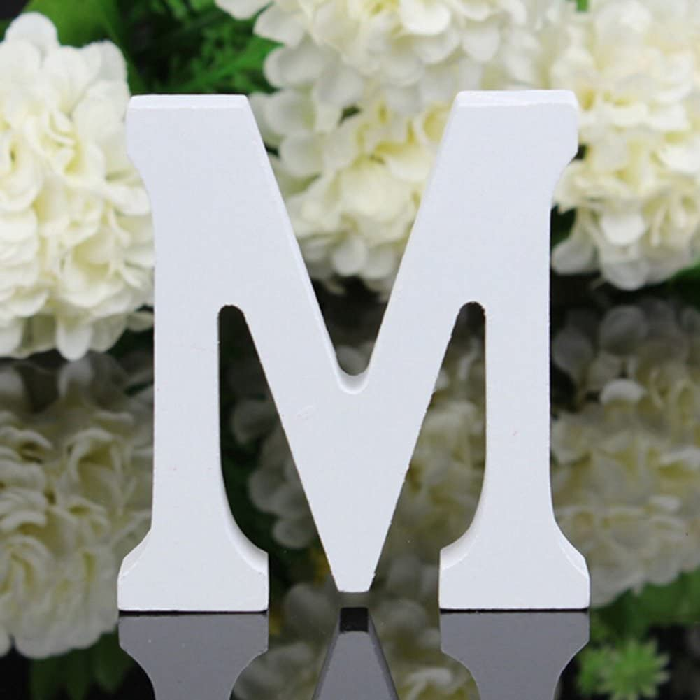 Totoo Decorative Wood Letters, Hanging Wall 26 Letters Wooden Alphabet Wall Letter for Children Baby Name Girls Bedroom Wedding Brithday Party Home Decor-Letters (M)