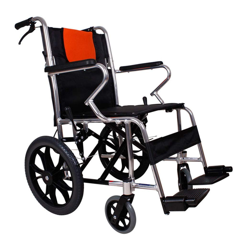 MLX Aluminum Alloy Wheelchair, Household Children's Small Wheelchair, Elderly Scooter, Thick Alloy Frame Solid Tire, Suitable for People with Disabilities by MLXCY