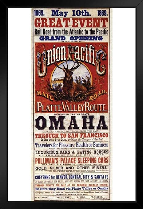 Union Pacific Platte Valley Route Omaha To San Francisco Railroad Vintage Travel Black Wood Framed Art Poster 14x20 Posters Prints