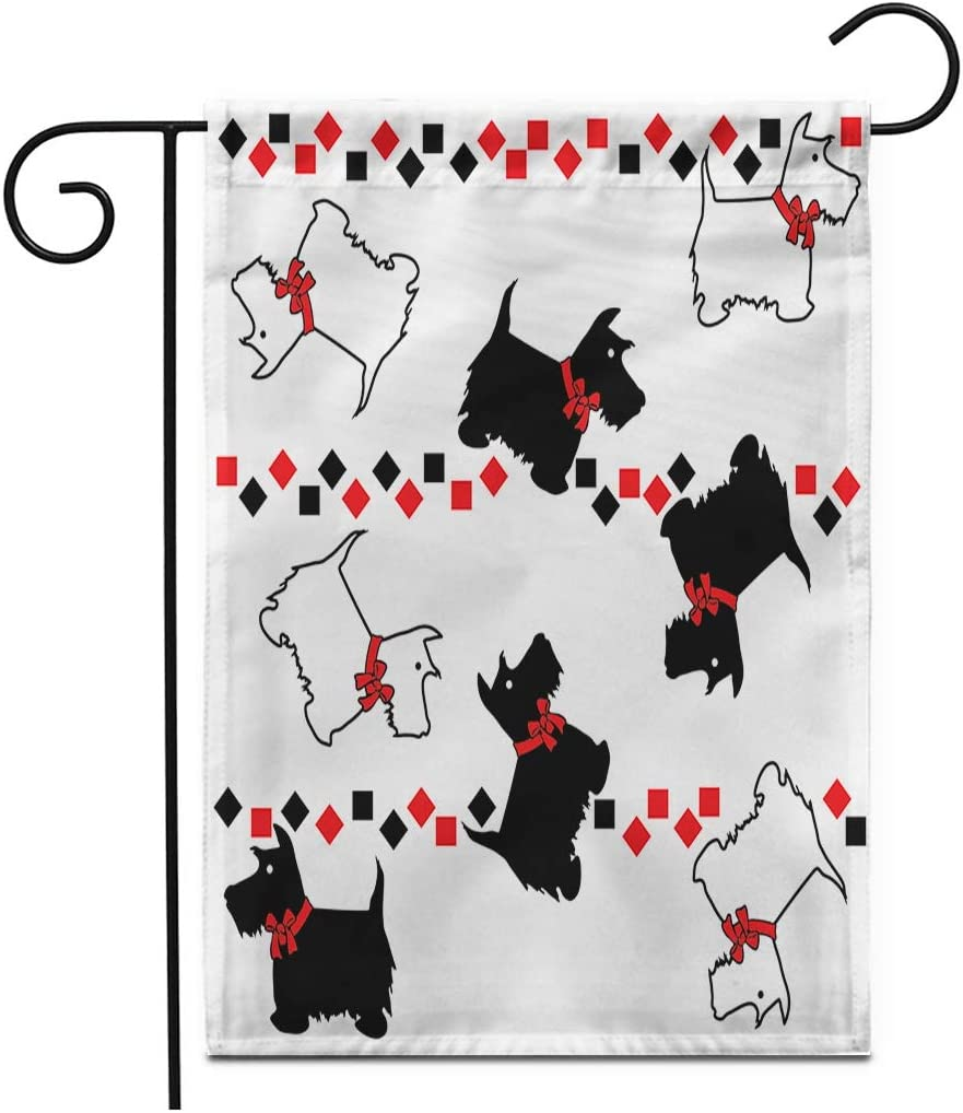 """Adowyee 28""""x 40"""" Garden Flag Animal Scottie Dog Cute Domestic Drawing Pattern Pets Scottish Outdoor Double Sided Decorative House Yard Flags"""