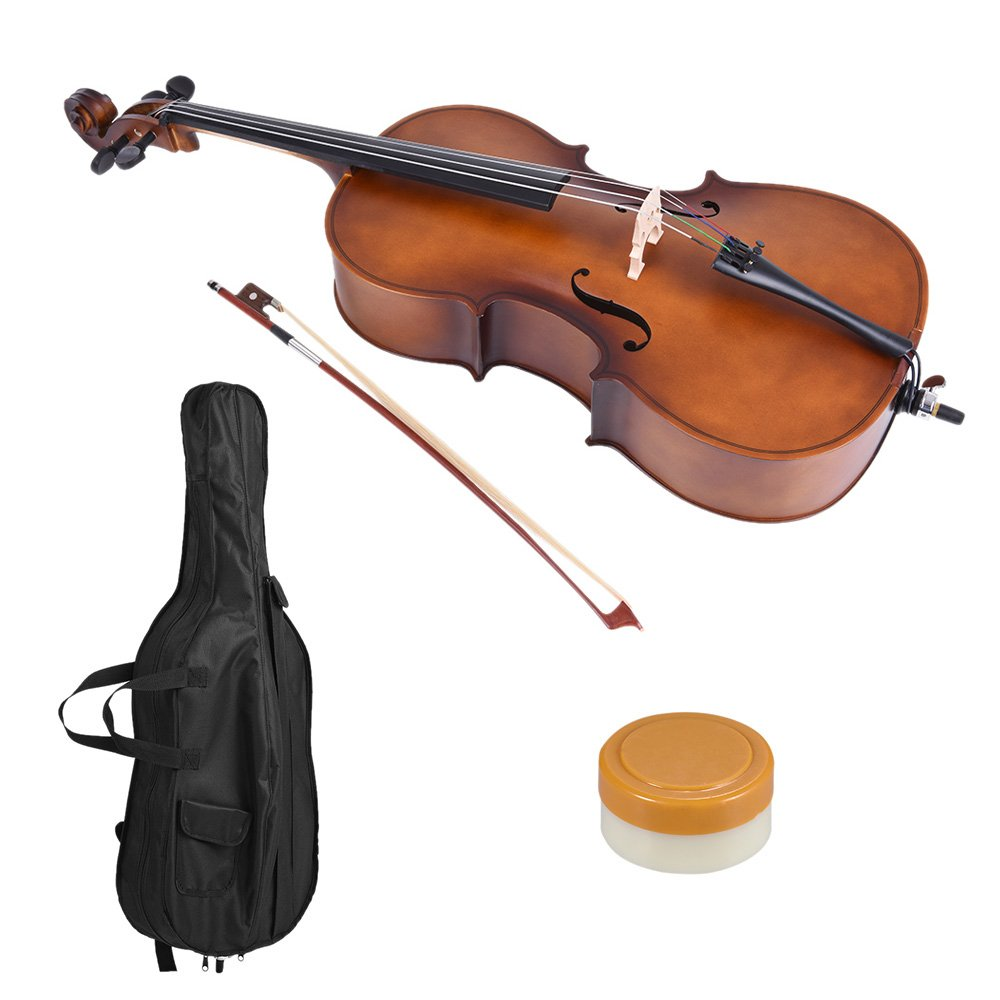 ammoon 3/4 Wooden Cello Gloss Matte Finish Basswood Face Board with Bow Rosin Carrying Bag for Students Music Lovers 1