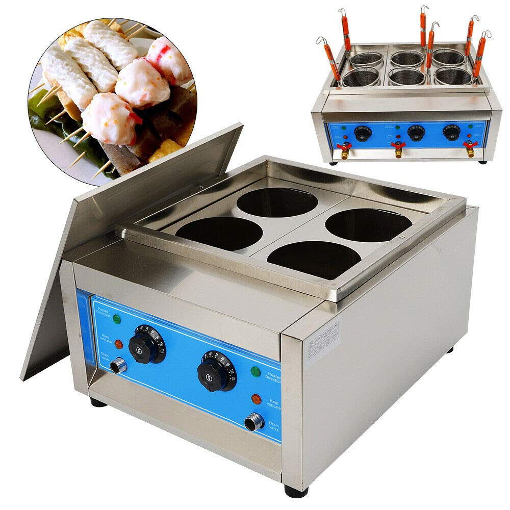 Electric Pasta Cooking Machine, Commercial 4 Holes Noodle Cooking Machine Electric Pasta Cooker 110V Table Top Noodles Cooker Machine for Processing of Various Snack Foods Cooking Noodles