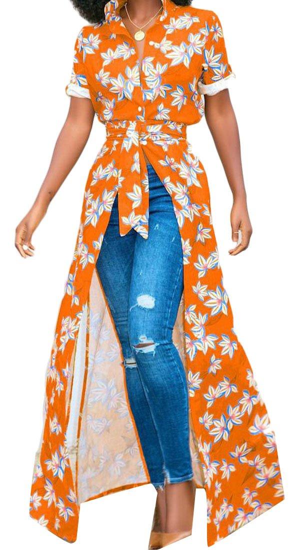 Domple Women's Dashiki African Print Button Down Short Sleeve Cocktail Dress Orange XS