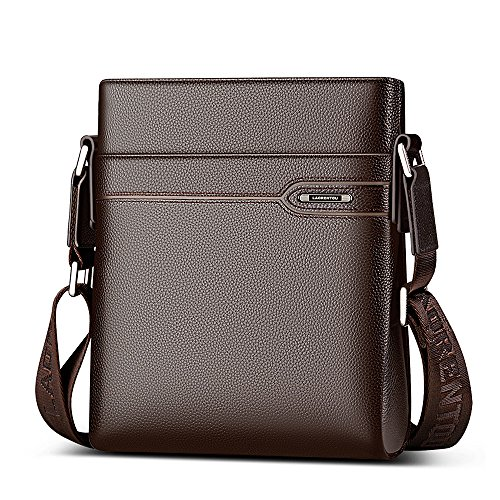 Cowhide Shoulder Bag - LAORENTOU Mens Genuine Leather Shoulder Bag Business Crossbody Bag Cowhide Purse for Men