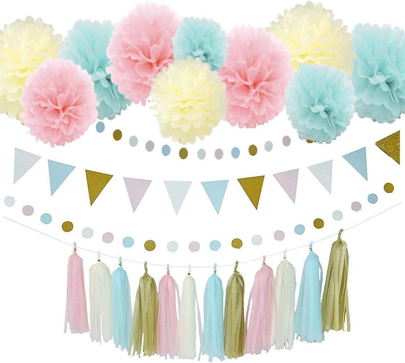 Baby Pink Baby Blue Party Decorations GENDER REVEAL 20 Tassel Tissue Paper Tassel Garland Tassel Poms Baby Shower Wedding Decoration