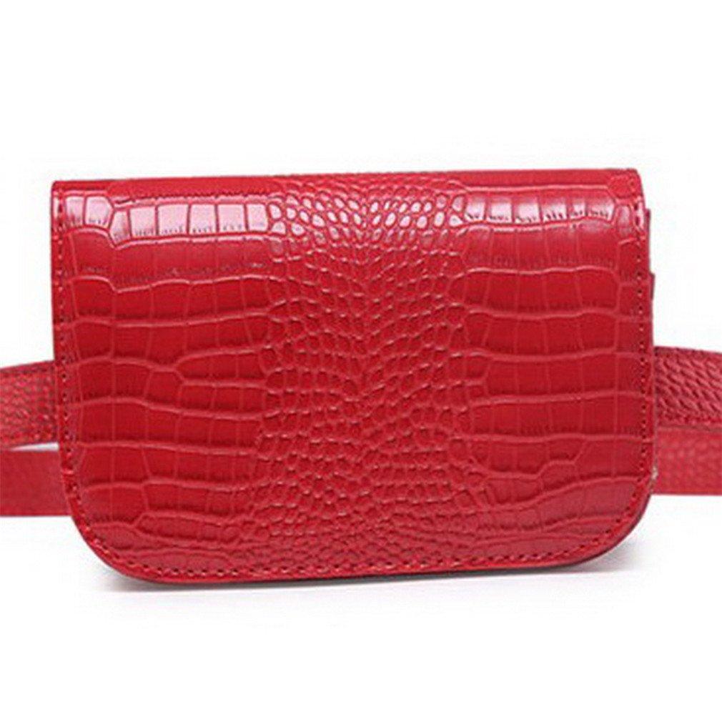Women Waist Packs Classic Fashion Leather Waist Packs Red
