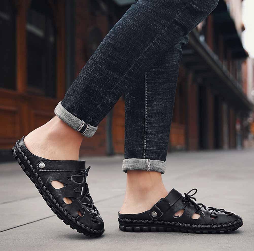 GLSHI Sandalias informales respirables de los hombres 2018 Nuevas zapatillas antideslizantes de la playa de la moda de verano Slingback de cuero