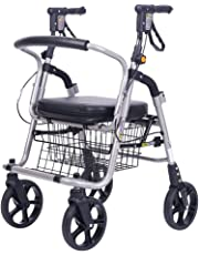 DR.MJ Rollator Walker with Seat For Seniors Accessories Folding Transport Chair with Large Bag and Non-Slip Light Weight Rolling Rollators Combo Travel Steel adjustable Heavy Duty Black
