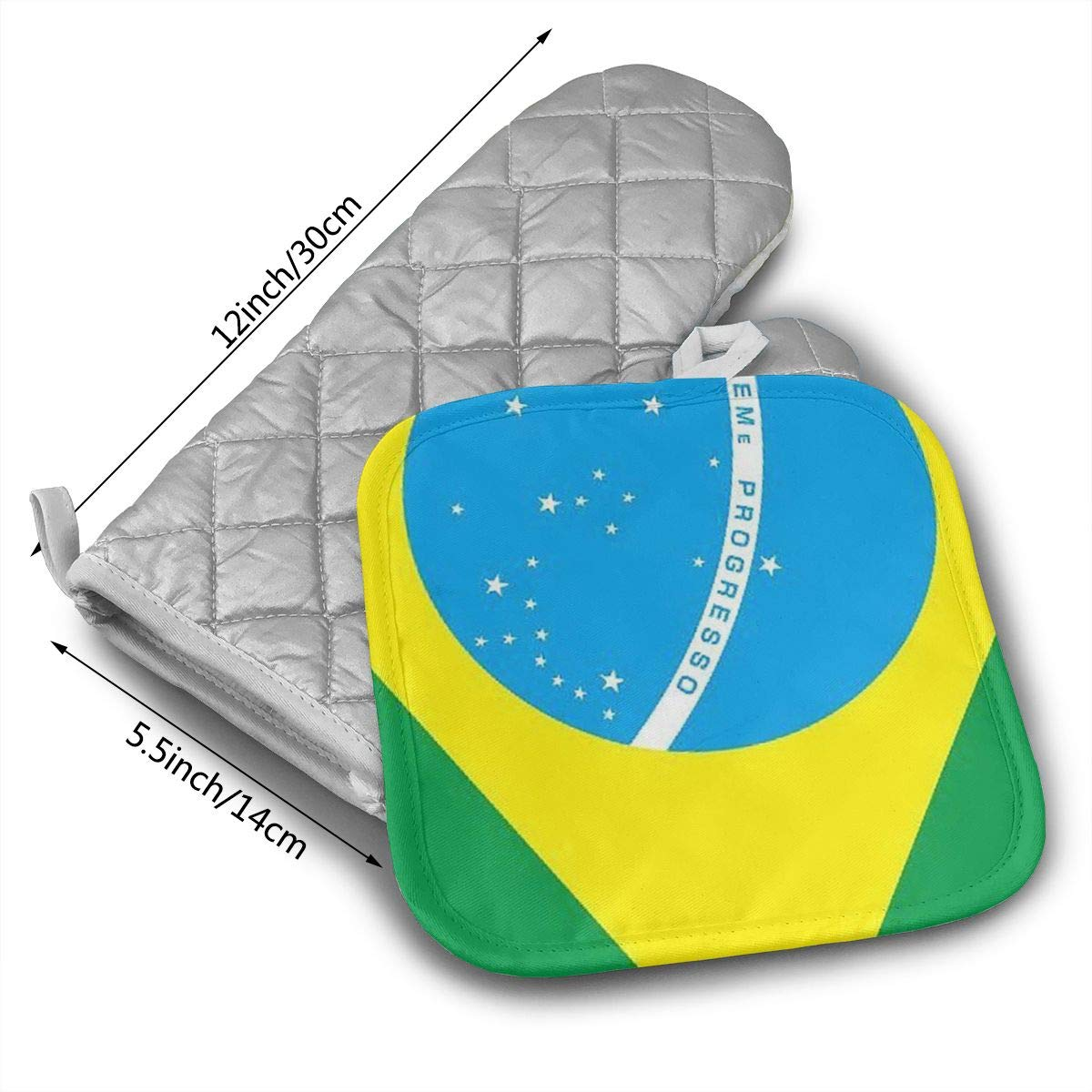 Amazon.com: GUYDHL Unisex Oven Mitt and Pot Holder for Flag of Brazil - 2 Pair: Home & Kitchen