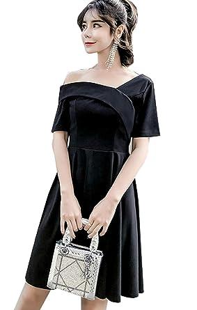 Hsug Damen Elegant Carmen Ausschnitt Kleid Elegant Schulterfrei