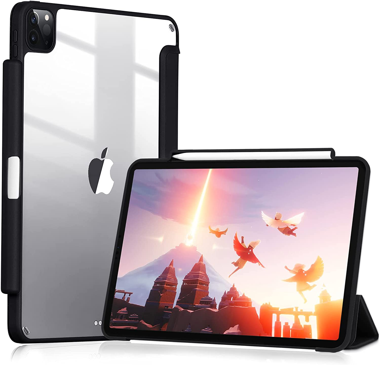 GHINL Case for iPad Pro 11 Inch 2nd Generation 2020 with Pencil Holder [Support iPad 2nd Pencil Charging & Pair] Acrylic Slim Transparent Back Cover Smart Trifold Stand Protective Cover (Black)