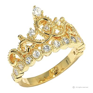 Amazon Sterling Silver Crown Ring Princess Ring Yellow