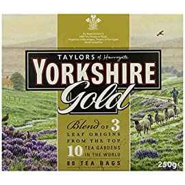 Taylors of Harrogate Yorkshire Gold, 80 Teabags 4 Yorkshire Gold is a high quality blend made from specially selected black teas from the ten finest tea gardens in Asam, Rwanda and Kenya. This tea produces a rich, golden liquor that is full of character and brightness with a brisk, refreshing character. Why does Yorkshire tea taste so good? The simple reason is that we never compromise on quality. We always buy the very best teas for our blends and you can really taste the difference Yorkshire Gold Tea boasts a rich, malty flavor is best enjoyed with milk and sugar to taste
