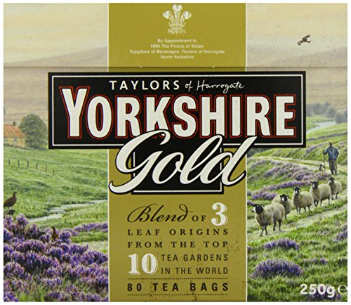 Taylors of Harrogate Yorkshire Gold, 80 Teabags 1 Yorkshire Gold is a high quality blend made from specially selected black teas from the ten finest tea gardens in Asam, Rwanda and Kenya. This tea produces a rich, golden liquor that is full of character and brightness with a brisk, refreshing character. Why does Yorkshire tea taste so good? The simple reason is that we never compromise on quality. We always buy the very best teas for our blends and you can really taste the difference Yorkshire Gold Tea boasts a rich, malty flavor is best enjoyed with milk and sugar to taste