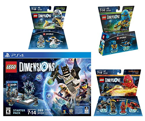 Lego Dimensions Starter Pack   Ninjago Team Pack   Jay Fun Pack   Zane Fun Pack Playstation 4 Ps4