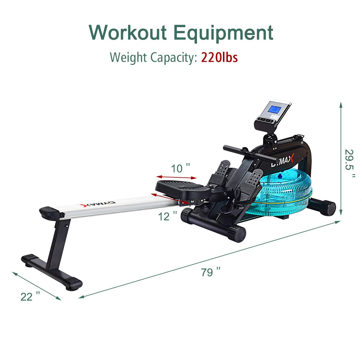 Goplus Water Rowing Machine with Heart Rate Sensor Indoor Water Rower with Adjustable Resistance Water Wheel LCD Monitor & Full Body Exercise for Home Use by Goplus (Image #7)