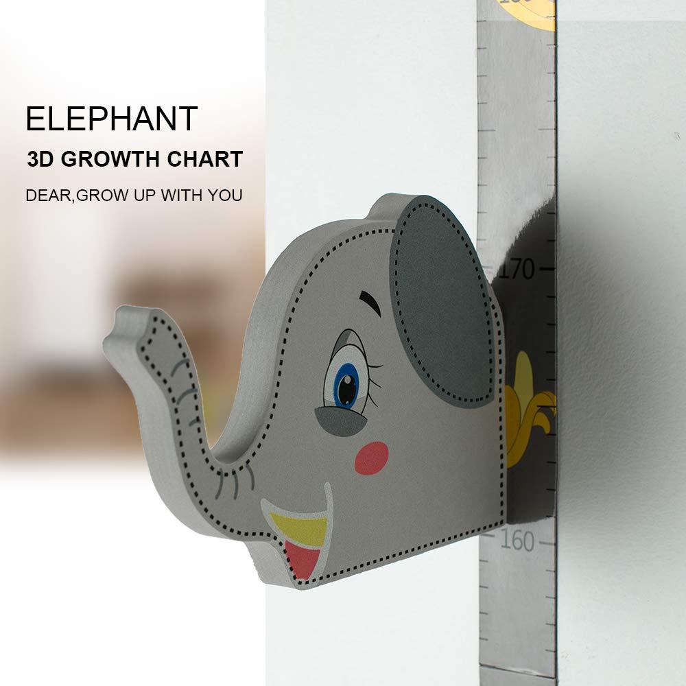 Wopeite 3D Elephant Height Growth Chart Ruler Magnetic Measurement Removable Baby Height Chart Ruler Children's Room Kindergarten Height Ruler