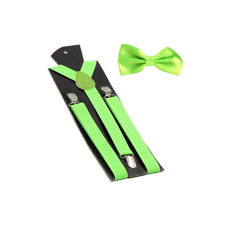 Mens Suspenders Bow Ties Set Women Braces Bowtie Y-Back Adjustable Clip-On Suspender,23 Yolk Yellow
