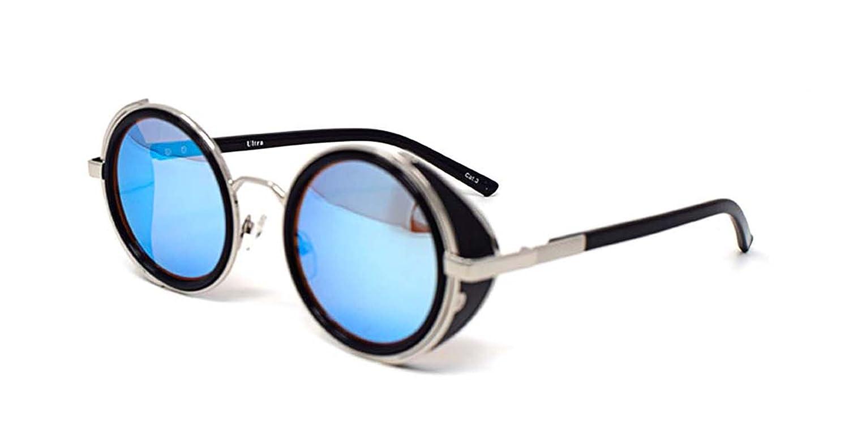 Lunettes de soleil ultra Steampunk 50 ans ronde verres UV400 protection disponible argent brun bleu miroir imprimé léopard et thé cuivre Cyber Goggles Goth Rave Vintage (Lentilles bruns) b5bY80OF